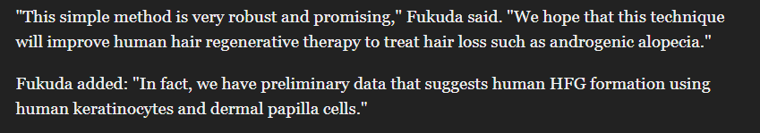 Fukuda Is Optimistic That This Will Help In Treating Human Hair Loss Problems